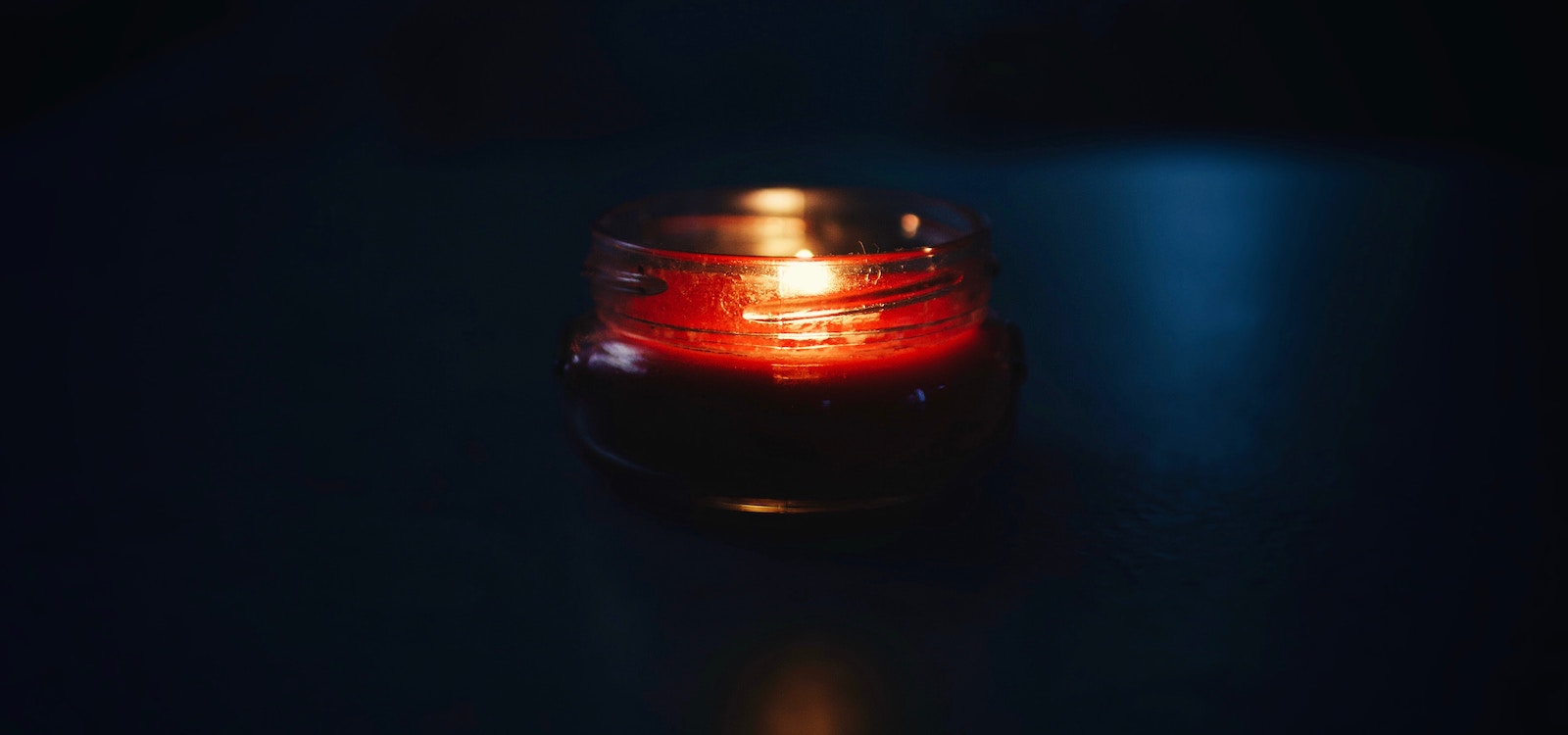 Beautiful candle in the dark